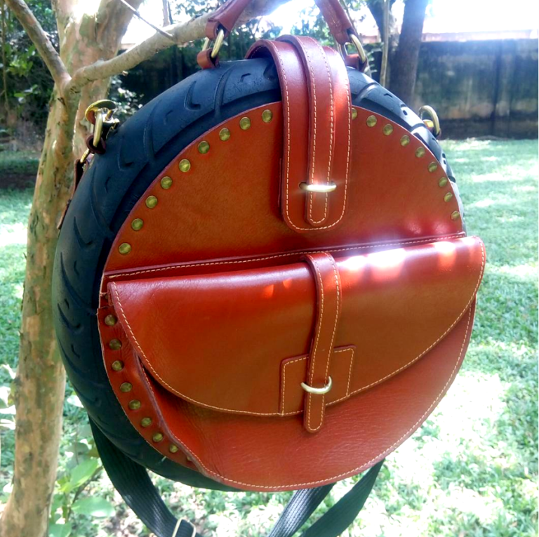 Chocolate Brown Tire Bag In Nature