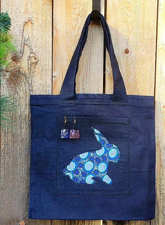 Tote, applique, earring blue bunny