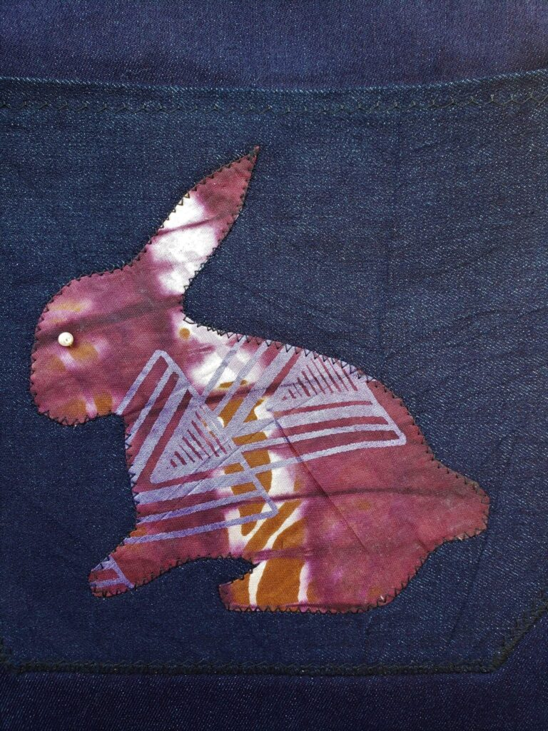 Tote, applique, earring brown purple bunny zoom