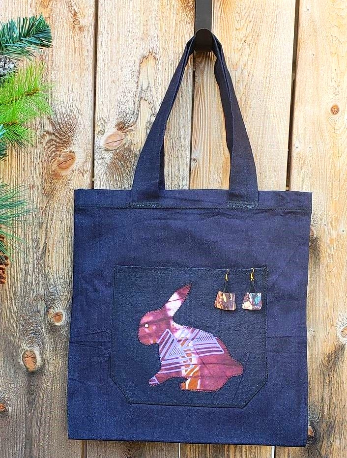 Tote, applique, earring brown purple bunny