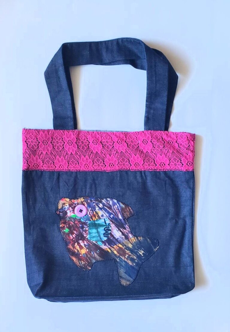 Tote, trim, applique pink lace and fish 1