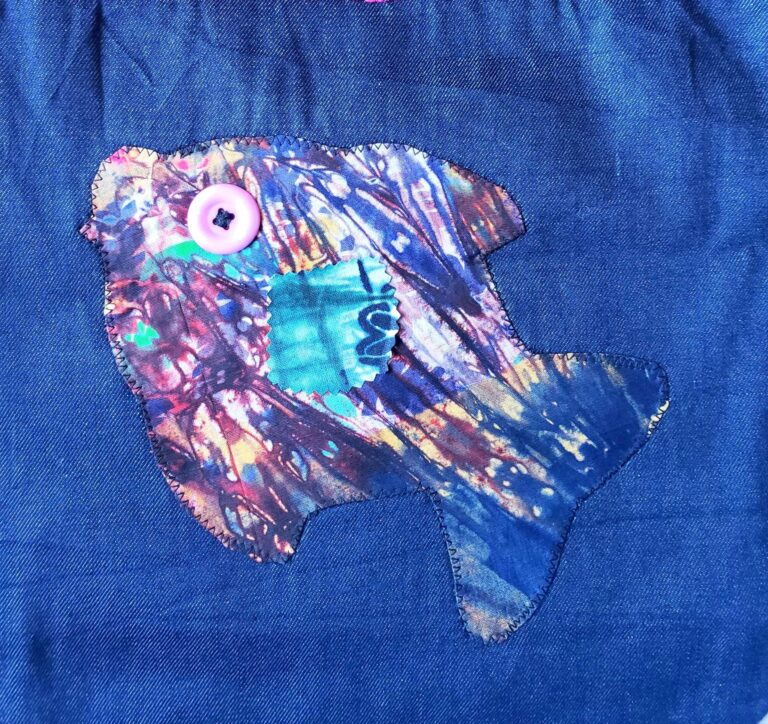 Tote, trim, applique pink lace and fish 2