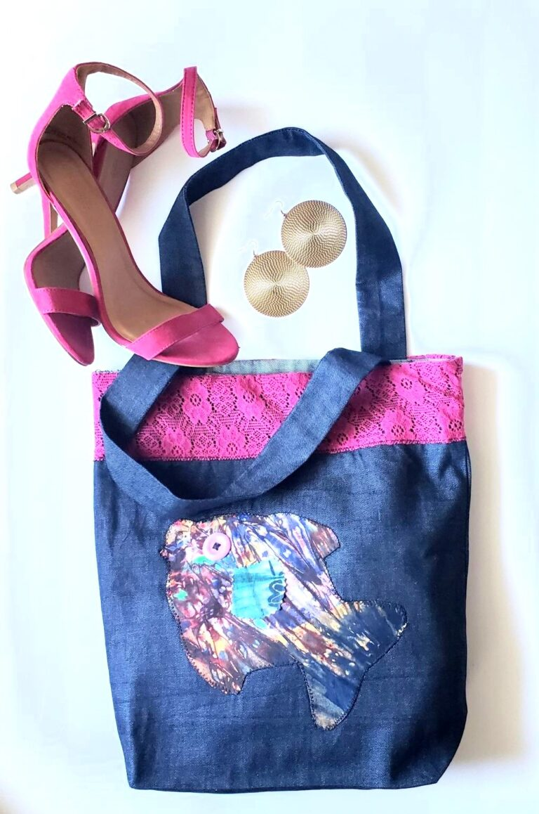 Tote, trim, applique pink lace and fish staged 2